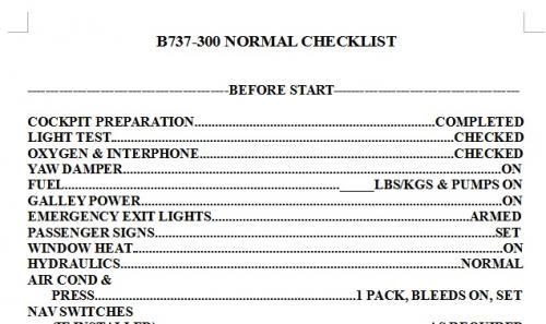 B737-300 Checklist for IXEG - Now with printable version