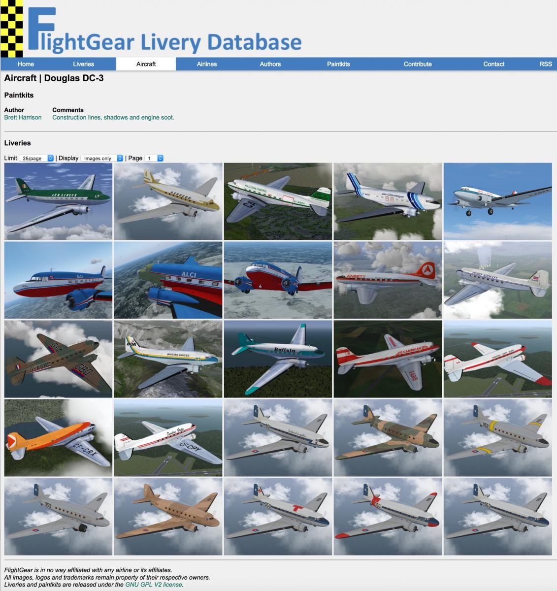72 Flight Gear Liveries for VSKYLABS DC-3 - VSKYLABS DC-3