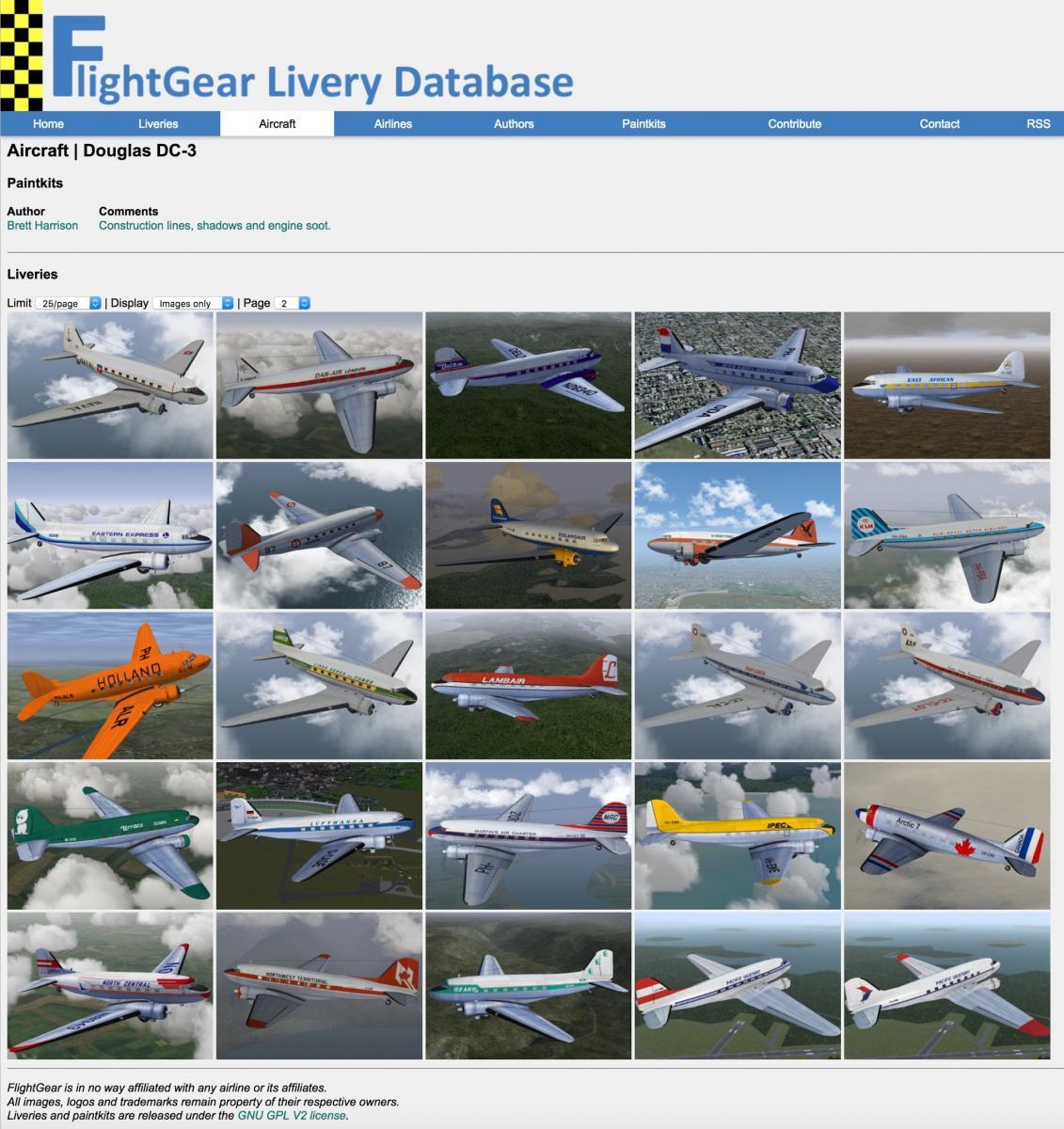72 Flight Gear Liveries for VSKYLABS DC-3 - VSKYLABS DC-3 - X-Plane
