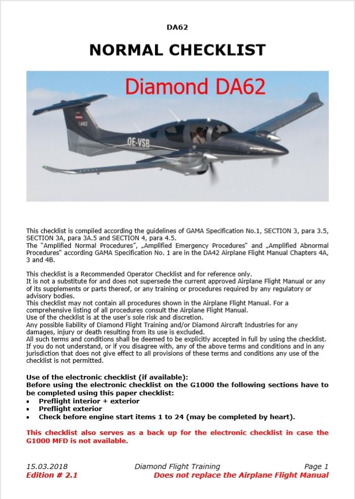 Diamond DA62 Checklist & Procedures - General Aviation - X