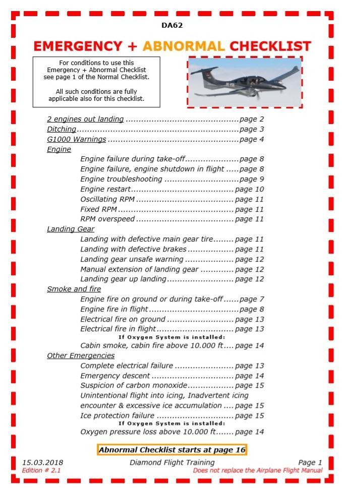 Diamond DA62 Checklist Procedures General Aviation X Plane Org