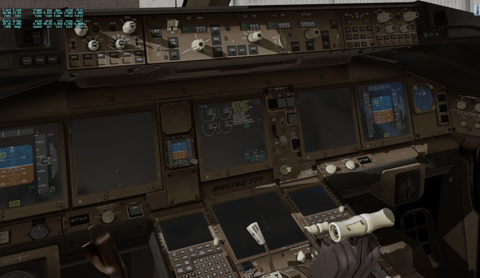 777 doesn't work in XP11, black Display: MAP,FMC Autopilot - Boeing