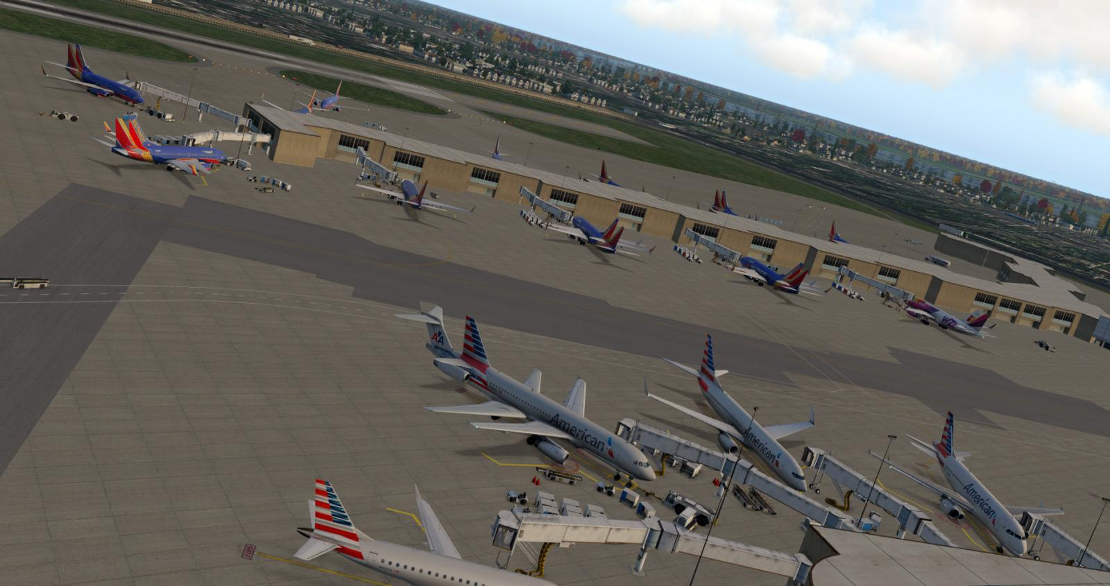 Double-parked aircraft at default XP11 airports - World Traffic - X