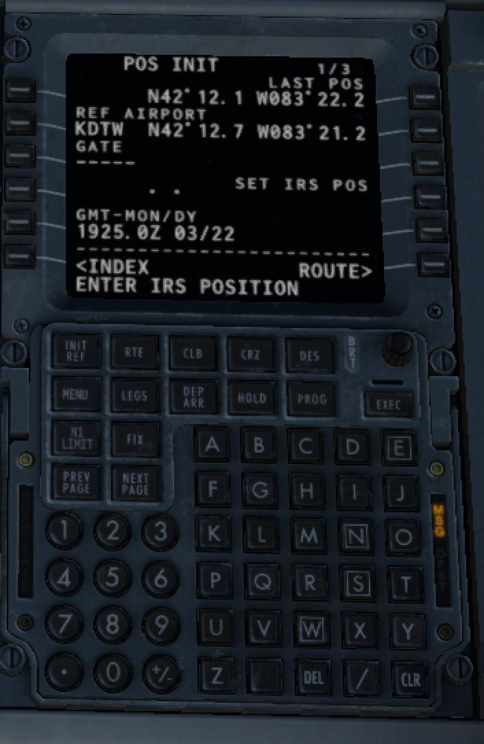 SET IRS POS in FMC represented in two different ways - ZIBO B738-800