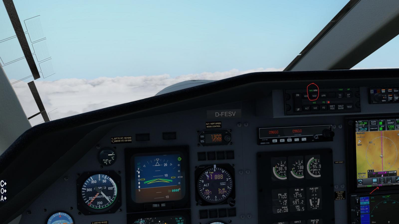 PC-12 XP11 LPV Approach with GTN 750 - Carenado - Alabeo