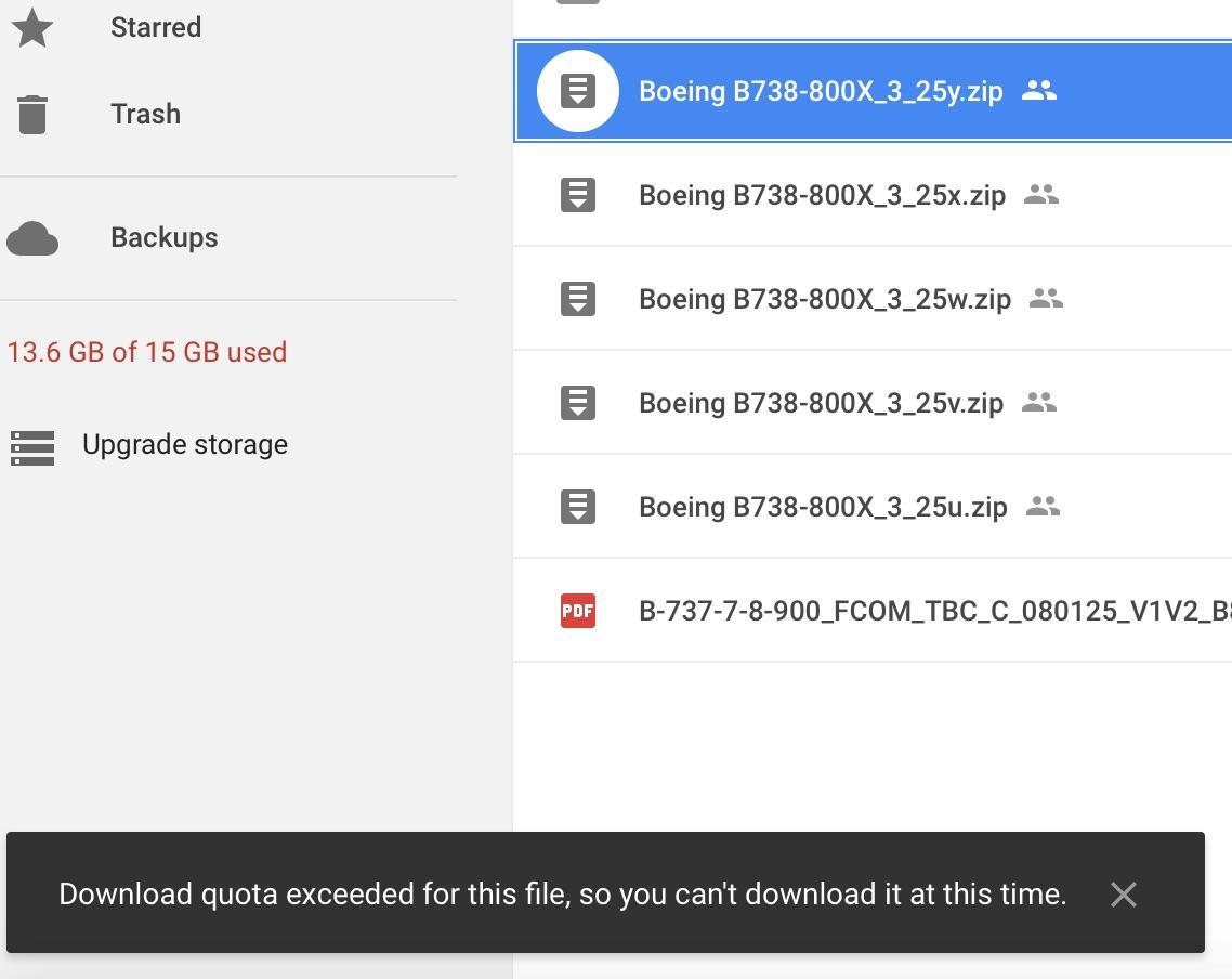 Zibo Google Drive out of quota - ZIBO B738-800 modified - X