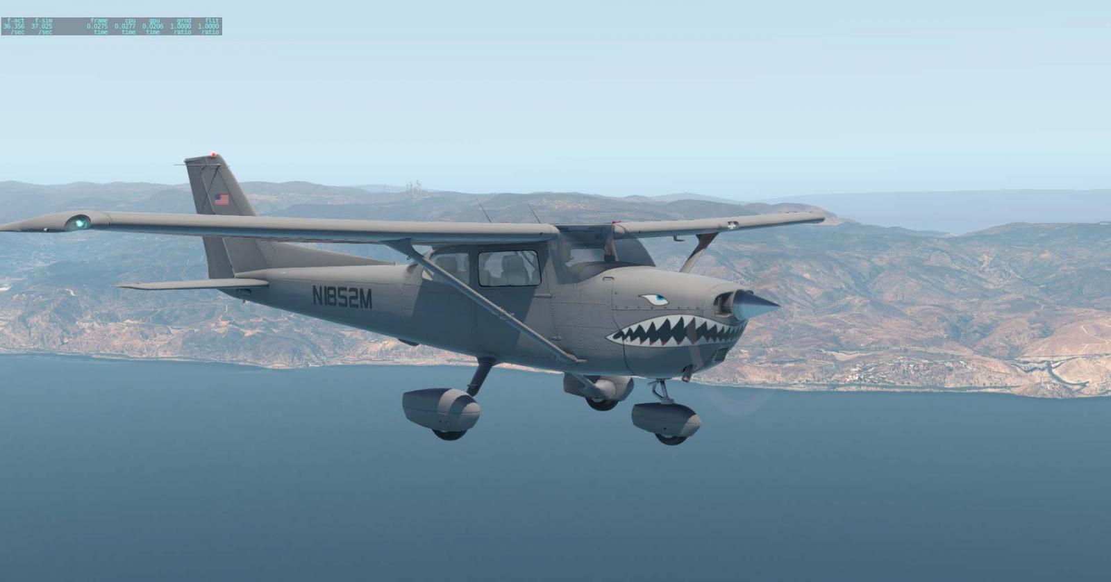 Default Cessna 172 Grey Shark N1852M Fictional Skin