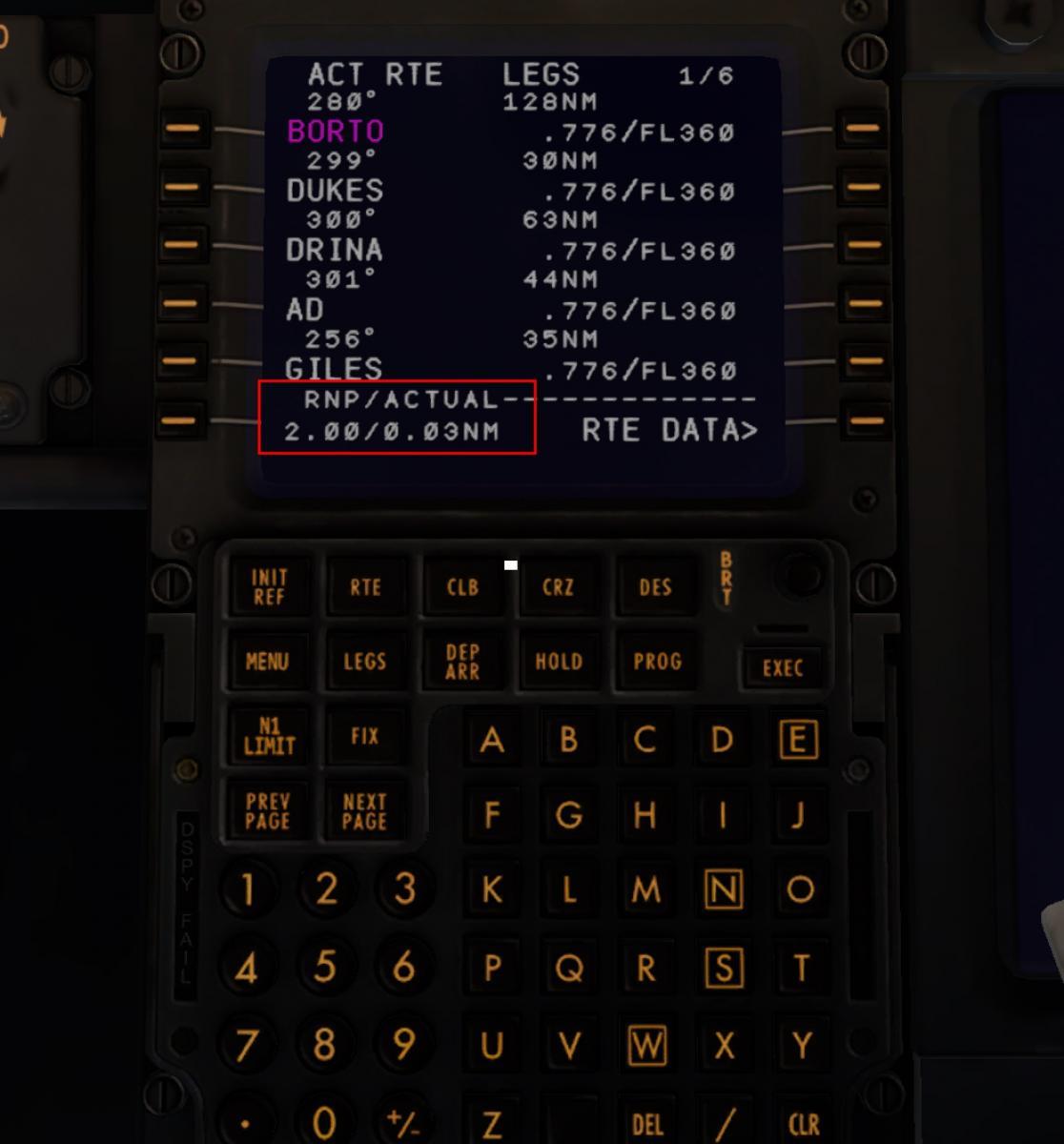 RNP/ACTUAL figures on FMC - ZIBO B738-800 modified - X-Plane