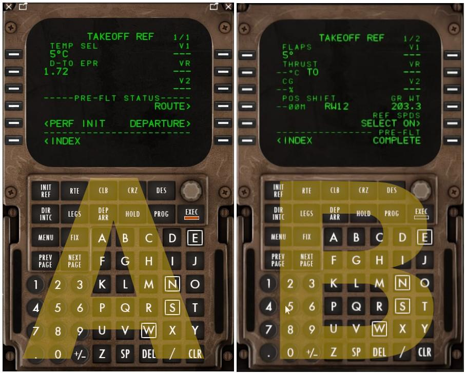 How can I select this Takeoff ref screen? - Boeing 757 v2