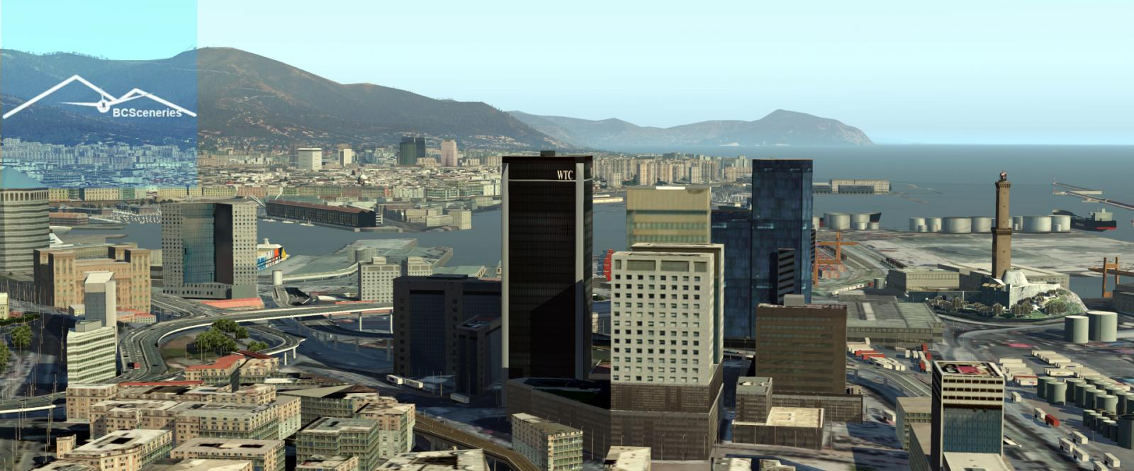LIMJ and Genova city in northern Italy scenery for X Plane
