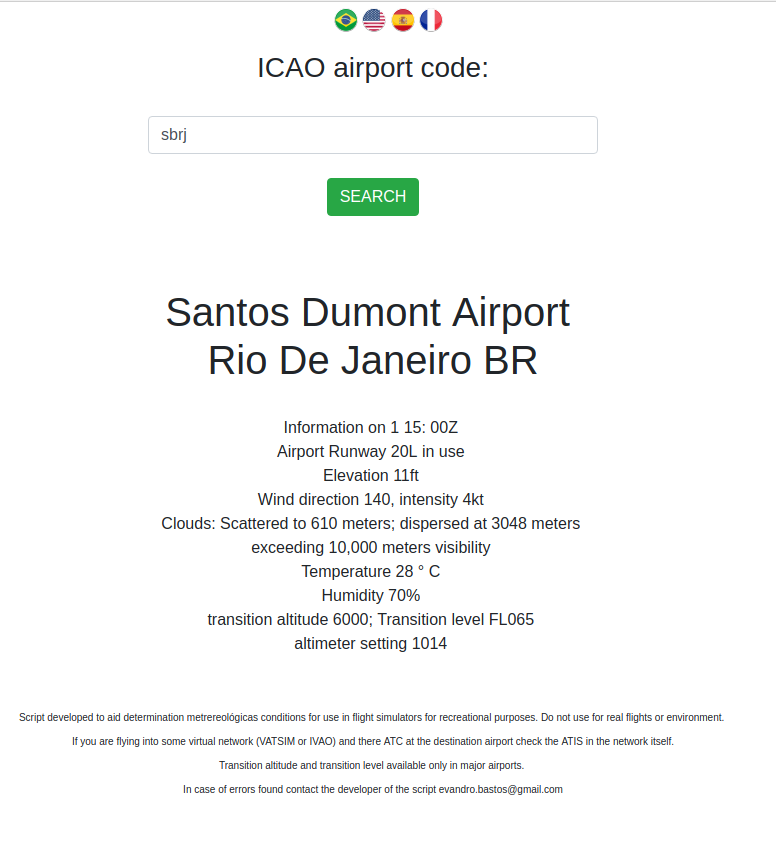 One click: Metar decode, airport information and runway in use